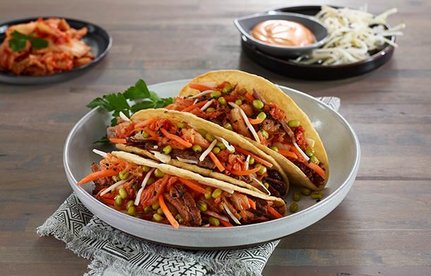 Korean Kimchi Brisket Tostada